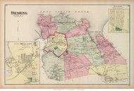 Flushing Town, Douglaston and Hinsdale Villages, New York 1873 Old Town Map Reprint - Queens Co. (LI)