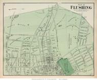 Flushing Village (Eastern Part Closeup) - Flushing, New York 1873 Old Town Map Reprint - Queens Co. (LI)
