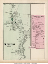 Freeport and Greenwich Point Villages - Hempstead, New York 1873 Old Town Map Reprint - Queens Co. (LI)