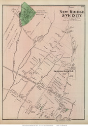 New Bridge Village & Vicinity - Hempstead, New York 1873 Old Town Map Reprint - Queens Co. (LI)