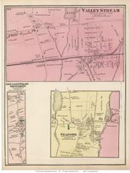 Valley Stream, Seaford, Ridgewood, and Jerusalem Villages - Hempstead, New York 1873 Old Town Map Reprint - Queens Co. (LI)