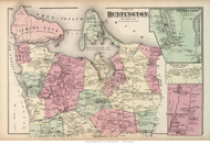 Huntington Town, Centreport, Vernon Valley, and North Babylon Villages, New York 1873 Old Town Map Reprint - Suffolk Co. (LI)