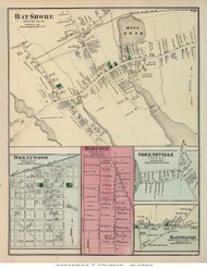 Bay Shore, Brentwood, Bohemia, Greeneville, and Hauppauge Villages - Islip, New York 1873 Old Town Map Reprint - Suffolk Co. (LI)