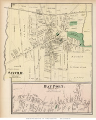 Sayville and Bay Port Villages - Islip, New York 1873 Old Town Map Reprint - Suffolk Co. (LI)
