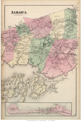 Jamaica Town and Part of Hempstead Village, New York 1873 Old Town Map Reprint - Queens Co. (Suffolk Atlas)