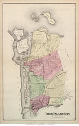 Long Island City, New York 1873 Old Town Map Reprint - Queens Co. (Suffolk Atlas)