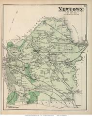 Newtown, New York 1873 Old Town Map Reprint - Queens Co. (Suffolk Atlas)