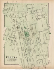 Corona or West Flushing - Newtown, New York 1873 Old Town Map Reprint - Queens Co. (Suffolk Atlas)