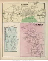 Maspeth, East Williamsburgh, and Woodside Villages - Newtown, New York 1873 Old Town Map Reprint - Queens Co. (Suffolk Atlas)