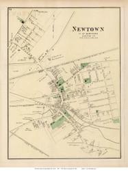 Newtown Village, New York 1873 Old Town Map Reprint - Queens Co. (Suffolk Atlas)