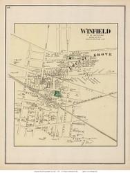 Winfield and Locust Grove Villages - Newtown, New York 1873 Old Town Map Reprint - Queens Co. (Suffolk Atlas)