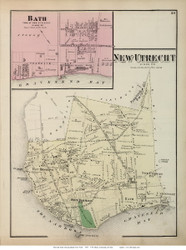 New Utrecht Town and Bath Village, New York 1873 Old Town Map Reprint - Kings Co. (Suffolk Atlas)