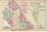 North Hempstead Town, Great Neck and Roslyn Villages, New York 1873 Old Town Map Reprint - Queens Co. (Suffolk Atlas)