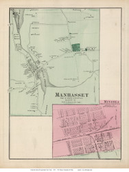 Manhasset and Mineola Villages - North Hempstead, New York 1873 Old Town Map Reprint - Queens Co. (Suffolk Atlas)