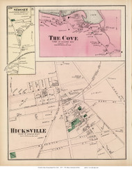 Hicksville, The Cove, and Syosset Villages - Oyster Bay, New York 1873 Old Town Map Reprint - Queens Co. (Suffolk Atlas)