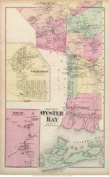 Oyster Bay Town (Southern Part), Jericho and Farmingdale Villages, New York 1873 Old Town Map Reprint - Queens Co. (Suffolk Atlas)