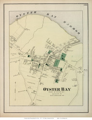 Oyster Bay Village, New York 1873 Old Town Map Reprint - Queens Co. (Suffolk Atlas)