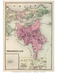 Shelter Island Town and Greenport Village (Custom), New York 1873 Old Town Map Reprint - Suffolk Co. (Suffolk Atlas)