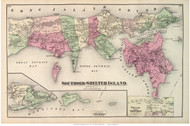 Southold and Shelter Island Towns, Greenport Village, New York 1873 Old Town Map Reprint - Suffolk Co. (Suffolk Atlas)