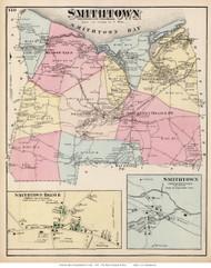 Smithtown Town, Smithtown and Smithtown Branch Villages, New York 1873 Old Town Map Reprint - Suffolk Co. (Suffolk Atlas)