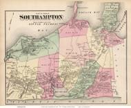 Southampton Town (Eastern Part), New York 1873 Old Town Map Reprint - Suffolk Co. (Suffolk Atlas)