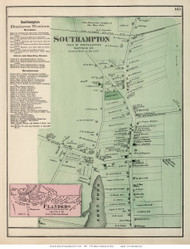 Southampton and Flanders Villages, New York 1873 Old Town Map Reprint - Suffolk Co. (Suffolk Atlas)