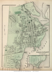 Greenport Village and Fannings Point - Southold, New York 1873 Old Town Map Reprint - Suffolk Co. (Suffolk Atlas)