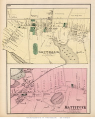 Southold and Mattituck Villages - Southold, New York 1873 Old Town Map Reprint - Suffolk Co. (Suffolk Atlas)