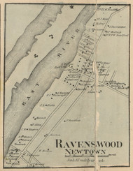 Ravenswood - Newtown, New York 1859 Old Town Map Custom Print - Queens Co.