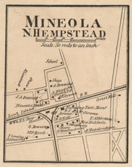 Mineola - North Hempstead, New York 1859 Old Town Map Custom Print - Queens Co.