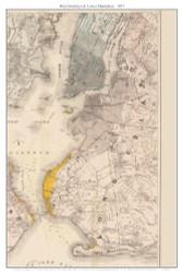 West Brooklyn & Lower Manhattan, New York 1857 Old Town Map Custom Print - New York City Area - Port & Vicinity of New York - Yellow Fever