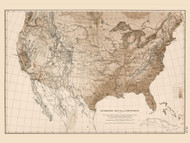 Hypsometric Sketch of the United States 1870 - Walker 1870 9th Census Atlas - USA Atlases