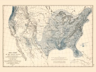Rain Chart of the United States 1872 - Walker 1870 9th Census Atlas - USA Atlases