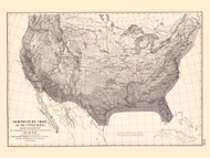 Temperature Chart of the United States 1872 - Walker 1870 9th Census Atlas - USA Atlases