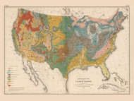 Geological Map of the United States 1874 - Walker 1870 9th Census Atlas - USA Atlases