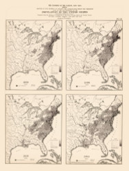 Population of the United States 1790-1820 - Walker 1870 9th Census Atlas Eastern - USA Atlases
