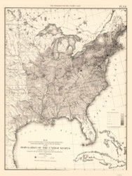 Population of the United States 1850 - Walker 1870 9th Census Atlas Eastern - USA Atlases