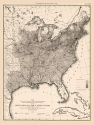 Population of the United States 1860 - Walker 1870 9th Census Atlas Eastern - USA Atlases
