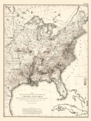 Distribution of the Colored Population in the United States 1870 - Walker 1870 9th Census Atlas Eastern - USA Atlases