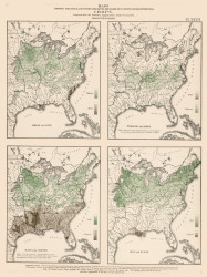 Range of Crops in the United States - Wheat, Tobacco, Hay, etc. 1870 - Walker 1870 9th Census Atlas Eastern - USA Atlases