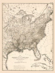 Illiteracy of the Aggregate Population in the United States 1870 - Walker 1870 9th Census Atlas Eastern - USA Atlases