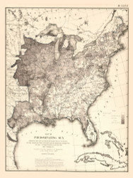 Map of Predominating Sex in the United States 1870 - Walker 1870 9th Census Atlas Eastern - USA Atlases
