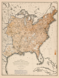 Degree of Taxation per Capita in the United States 1870 - Walker 1870 9th Census Atlas Eastern - USA Atlases