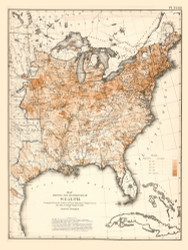 Distribution of Wealth in the United States 1870 - Walker 1870 9th Census Atlas Eastern - USA Atlases
