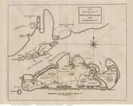 Martha's Vineyard 1784 de Crevecour - Old Map Custom Print