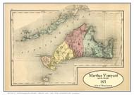 Martha's Vineyard & The Islands 1871 Walling & Gray - Old Map Custom Print
