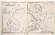 Huntington Station - North, New York 1917 Old Map Reprint - Suffolk Co. North Vol. 1