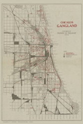 Chicago Gangland 1892 Thrasher - Old Map Reprint -  Illinois Cities