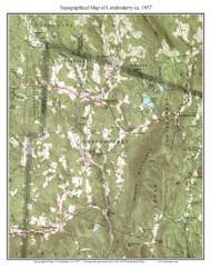 Londonderry 1957 - Custom USGS Old Topo Map - Vermont