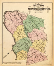 Montgomery County, Maryland 1879 Old Map Reprint - Montgomery Co. (Montgomery MD Atlas)